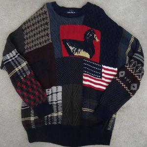 VTG Nautica Handknit Sweater American Flag Mens XL